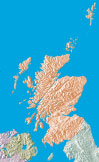 color scotland relief map with blue water surfaces