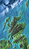 color scotland relief map showing water depths