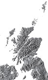 gray scotland relief map